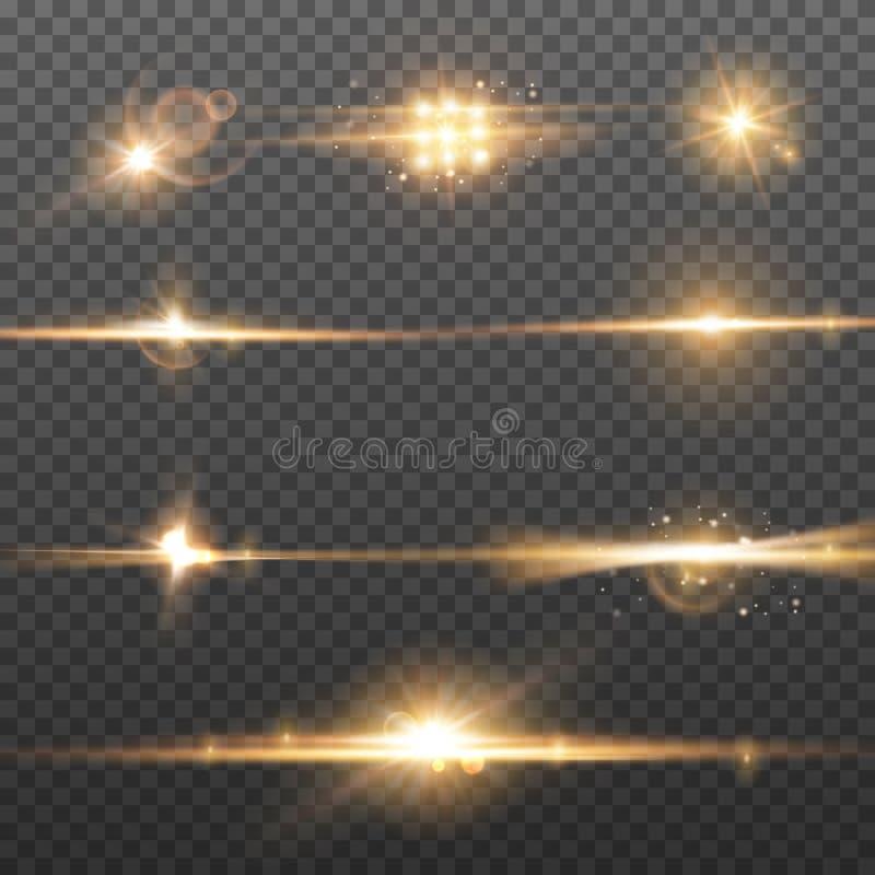 Effets abstraits de fusée d'éclairage Éclat d'éclat et lumière de scintillement Fond brillant de tache floue illustration stock