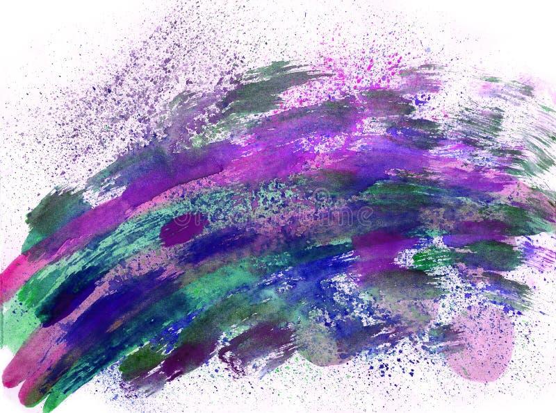 Effets bleus d'éclaboussure d'aquarelle illustration stock