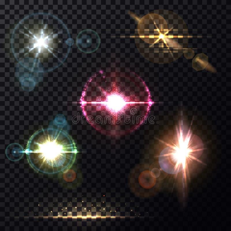 Effets de la lumière de lumière du soleil par le fond de lentille illustration de vecteur