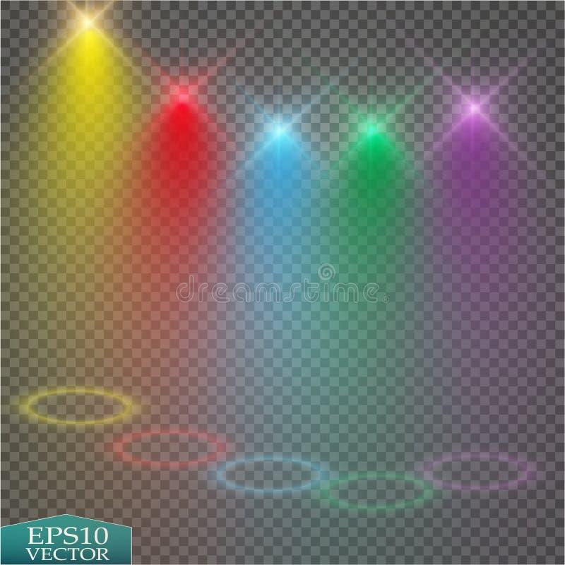 Effets de la lumière spéciaux Projecteurs lumineux de vecteur réaliste pour l'éclairage de scène sur le contexte de plaid Étape c illustration stock