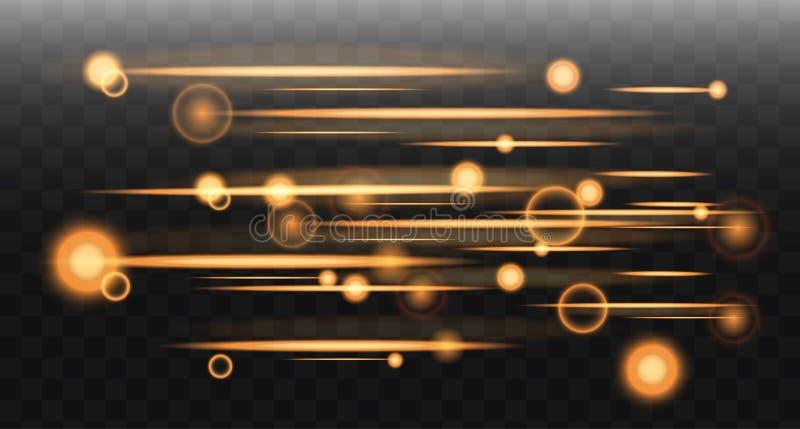 Effets rougeoyants de lampe au néon Ligne d'or abstraite avec le rayonnement et l'effet de Bokeh Vecteur illustration libre de droits