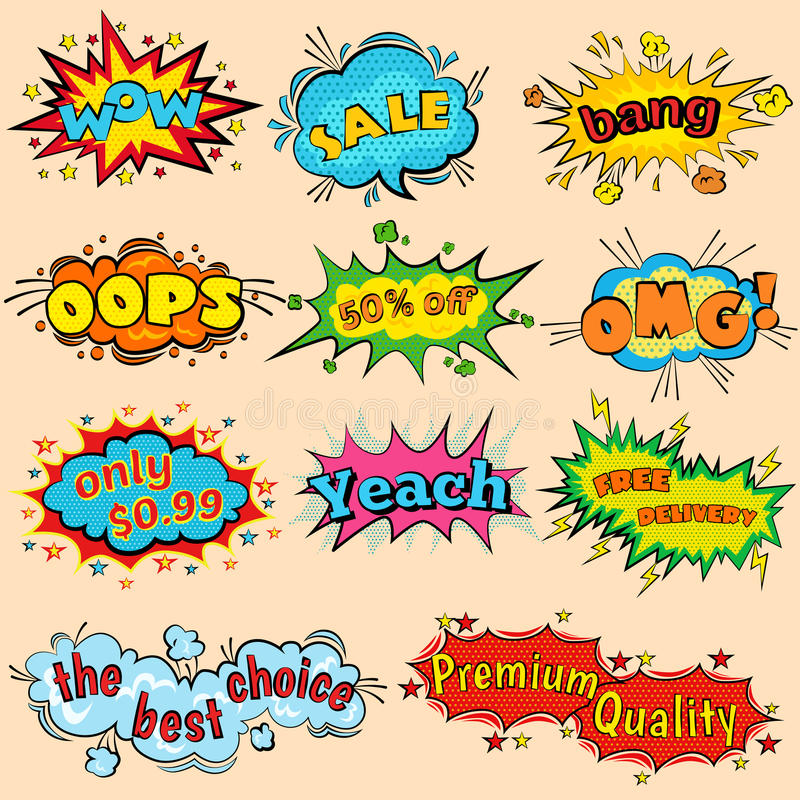 Effets sonores comiques dans le style de vecteur d'art de bruit Le discours sain de bulle avec le mot et l'expression comique de  illustration libre de droits