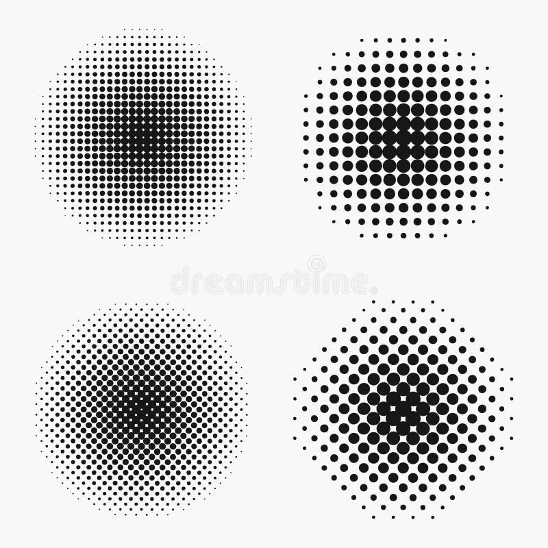 Effets tramés de cercle réglés Le monochrome pointille le demi-ton illustration stock