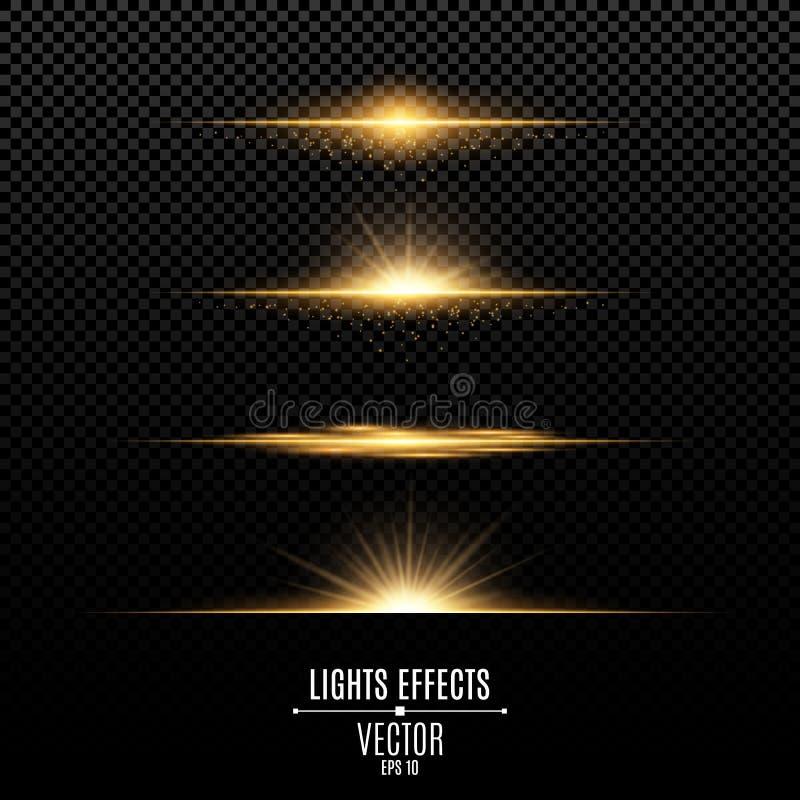 Effetti delle luci dorati isolati su un fondo trasparente Flash ed abbagliamento luminosi di colore dell'oro Raggi di luce dorati illustrazione vettoriale