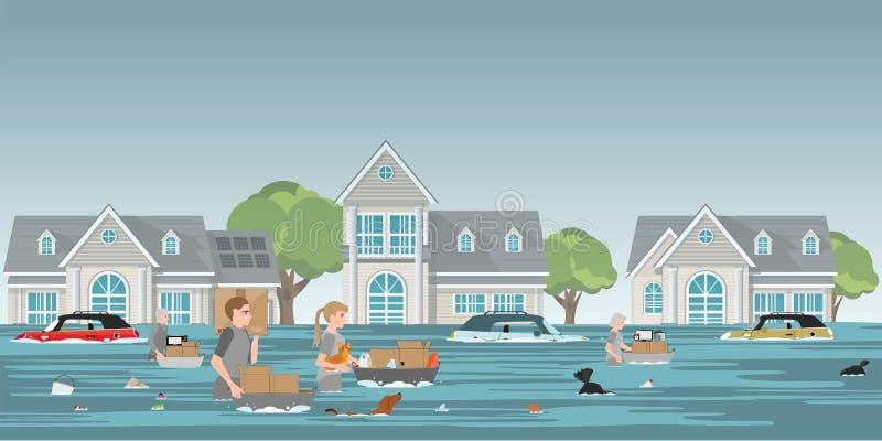 Effetti personali ed animale domestico di trasporto della famiglia dei residenti da camminare nell'alto wat royalty illustrazione gratis