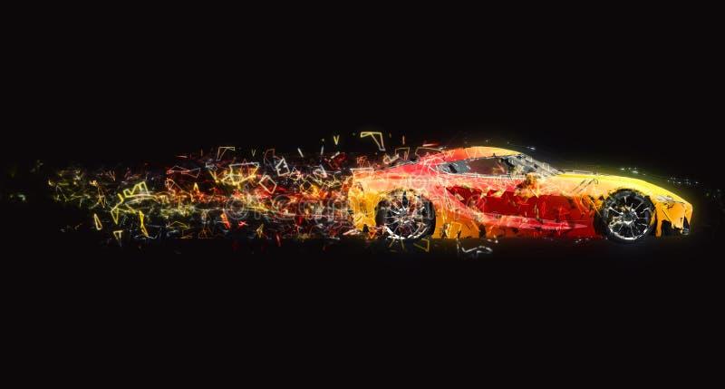 Effetto automobilistico eccellente veloce della traccia del poligono illustrazione di stock