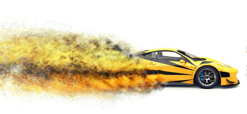 Effetto automobilistico eccellente veloce giallo luminoso di esplosione della particella illustrazione vettoriale