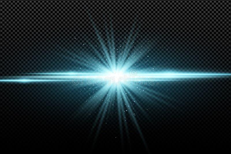 Effetto della luce alla moda astratto su un fondo trasparente Stella d'ardore luminosa Chiarori luminosi Raggi blu Esplosione Ill illustrazione di stock