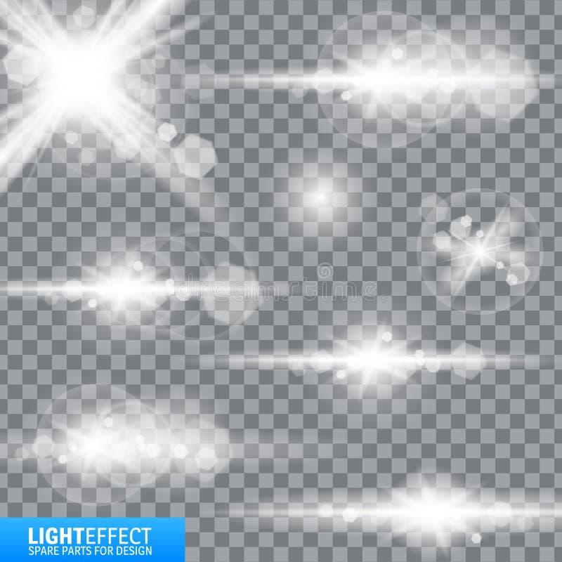 Effetto della luce, chiarore, accendentesi Pezzi di ricambio per l'illustrazione immagini stock libere da diritti