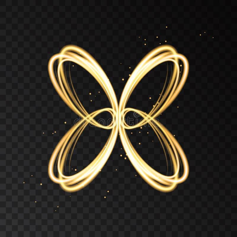 Effetto della luce con la siluetta astratta al neon dorata della farfalla illustrazione di stock