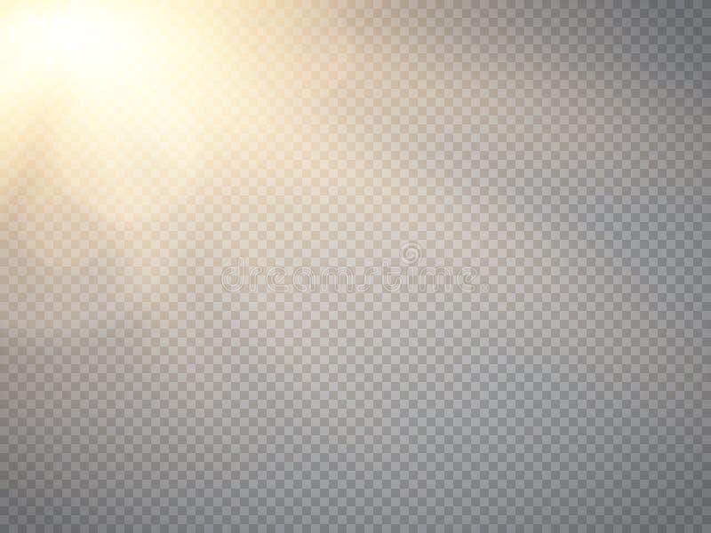 Effetto della luce del chiarore della lente Raggi di Sun con i fasci isolati Vettore royalty illustrazione gratis