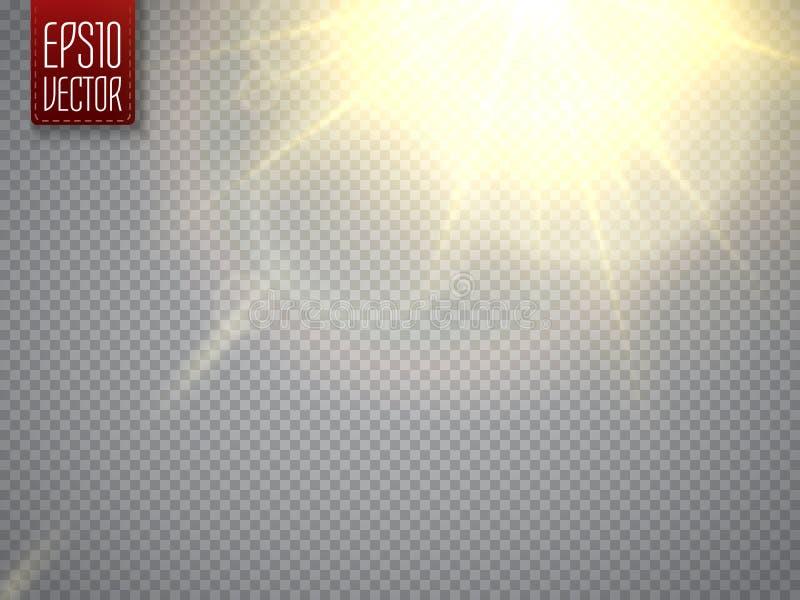 Effetto della luce del chiarore della lente Raggi di Sun con i fasci Vettore royalty illustrazione gratis
