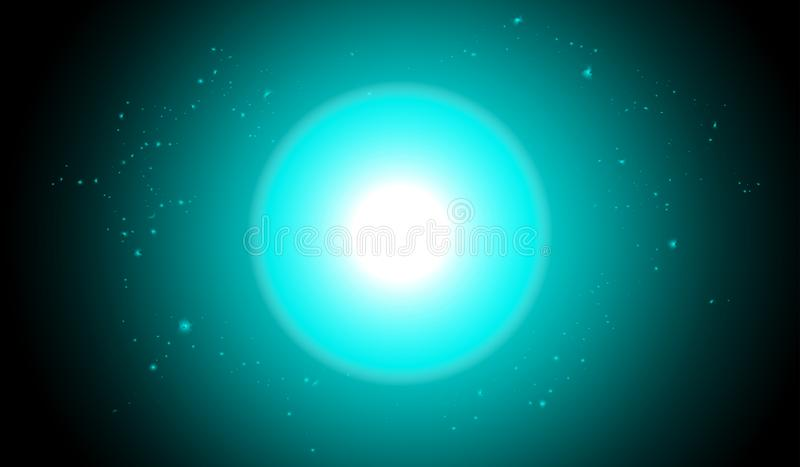Effetto della luce di incandescenza dell'estratto con le stelle blu su blu scuro illustrazione di stock