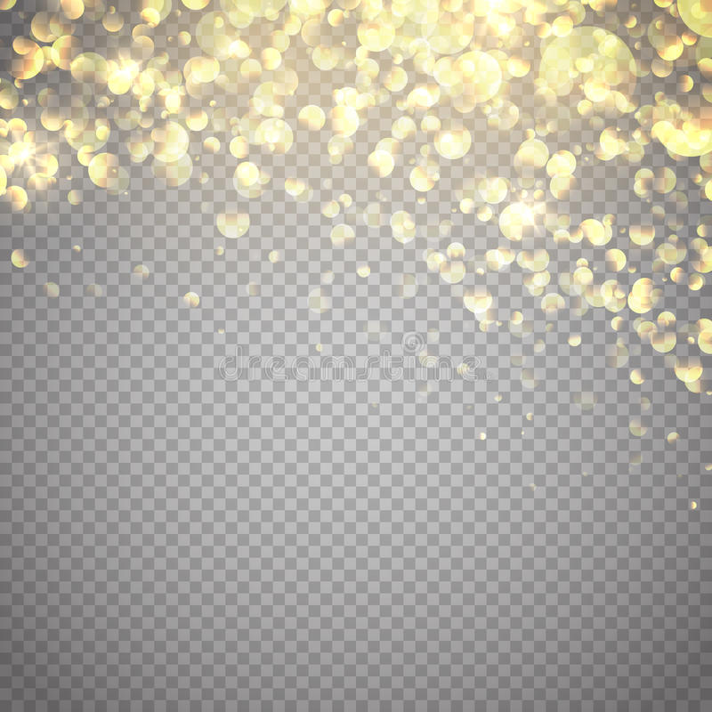 Effetto della luce di incandescenza Illustrazione di vettore Fondo delle particelle di scintillio dell'oro illustrazione vettoriale