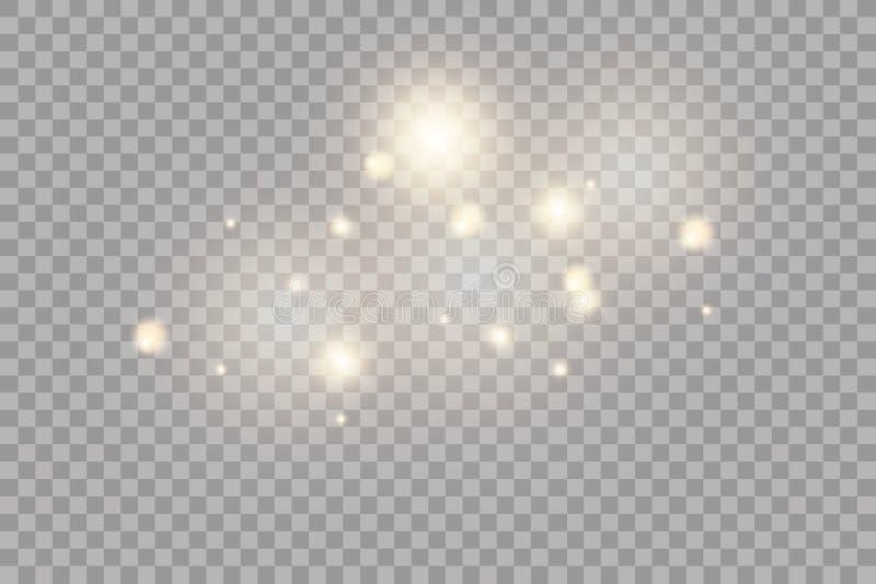 Effetto della luce di incandescenza Illustrazione di vettore Flash di Natale Decorazione della polvere di stella per annunciare royalty illustrazione gratis