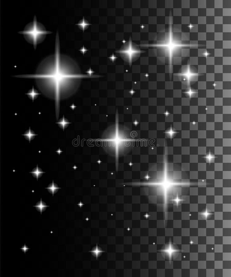 Effetto della luce di incandescenza Illustrazione di vettore Particelle scintillanti di stella della traccia bianca della polvere royalty illustrazione gratis