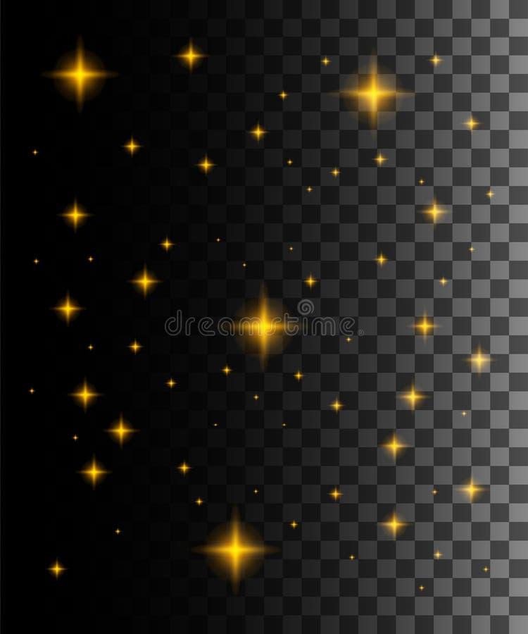 Effetto della luce di incandescenza Illustrazione di vettore Particelle scintillanti di stella della traccia dorata della polvere royalty illustrazione gratis
