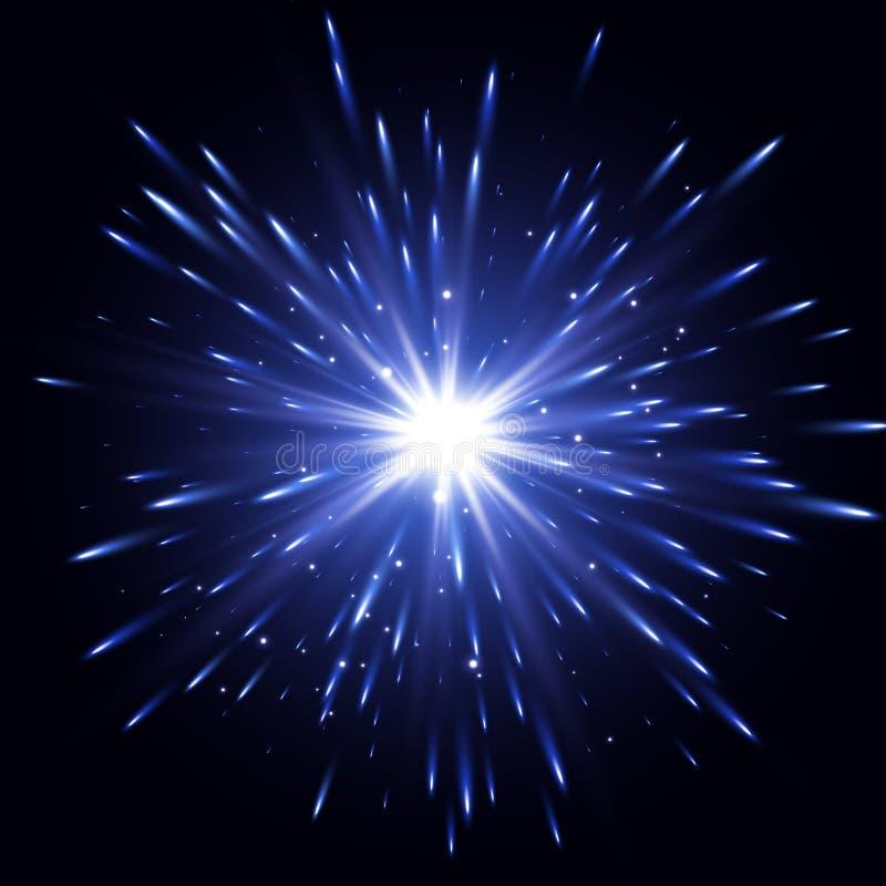 Effetto della luce di incandescenza Scoppio della stella con le scintille Effetto della luce trasparente Esplosione di vettore illustrazione vettoriale