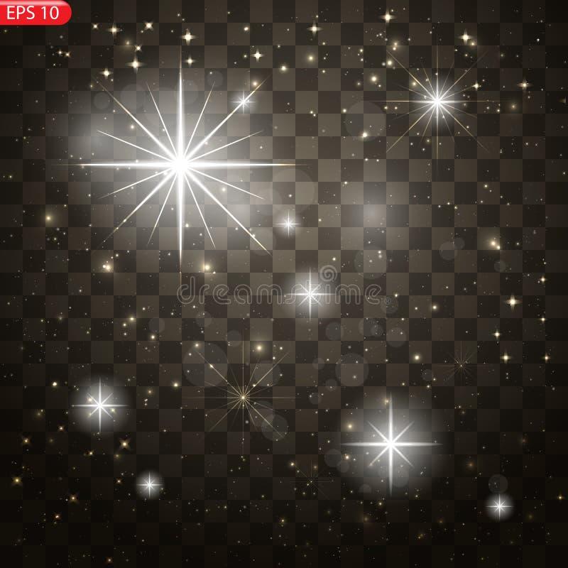 Effetto della luce di incandescenza Scoppio della stella con le scintille illustrazione di stock