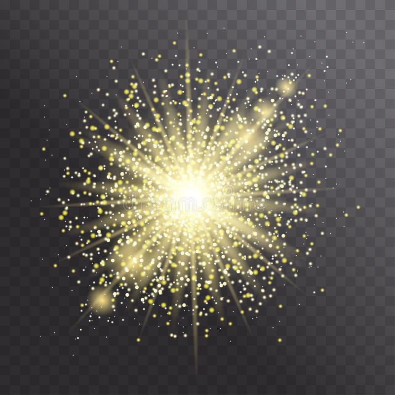 Effetto della luce di incandescenza Scoppio della stella con le scintille dorate illustrazione di stock