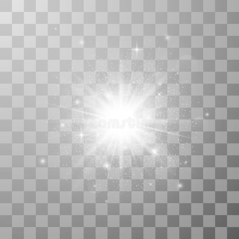 Effetto della luce di incandescenza Scoppio della stella con le scintille Illustrazione di vettore nel fondo trasparente illustrazione vettoriale