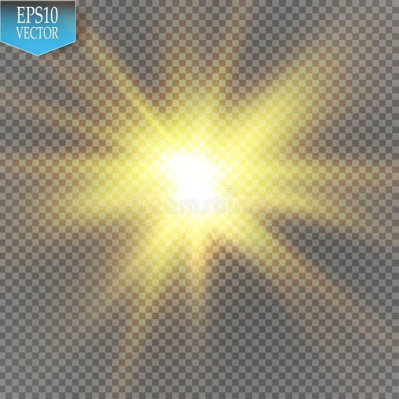 Effetto della luce di incandescenza Starburst con le scintille su fondo trasparente Illustrazione di vettore illustrazione vettoriale