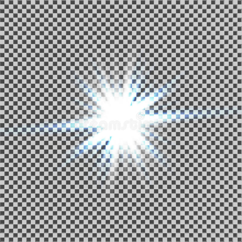 Effetto della luce di incandescenza Starburst con le scintille su fondo trasparente Illustrazione di vettore Sun Flash di Natale  royalty illustrazione gratis