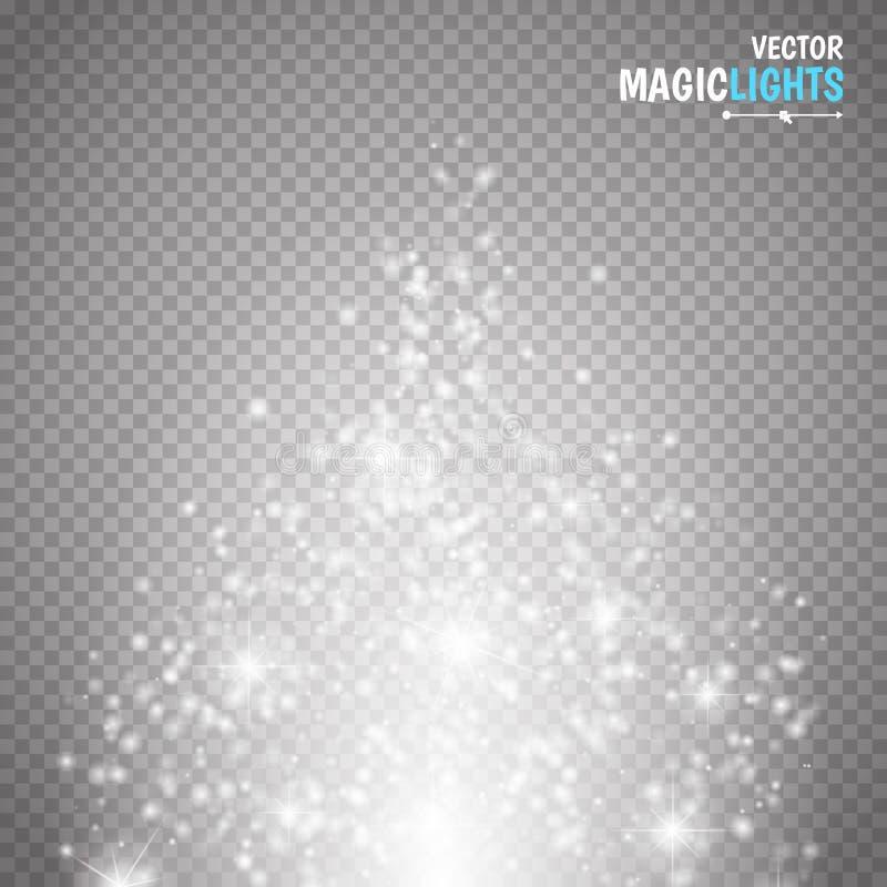 Effetto della luce magico La luce, il chiarore, la stella e lo scoppio di effetto speciale di incandescenza scintillano royalty illustrazione gratis