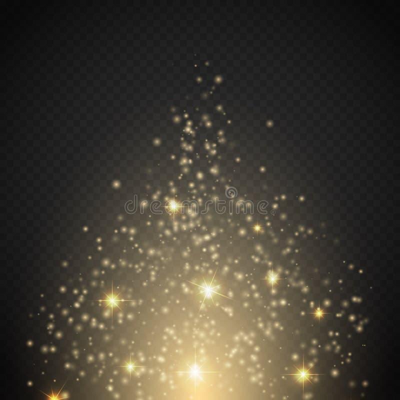 Effetto della luce magico La luce, il chiarore, la stella e lo scoppio di effetto speciale di incandescenza scintillano illustrazione vettoriale