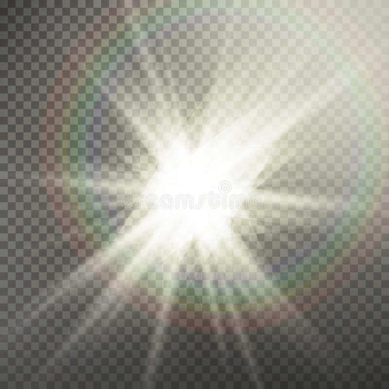 Effetto della luce speciale del chiarore della lente di luce solare Effetto speciale del chiarore chiaro Isolato su fondo traspar royalty illustrazione gratis