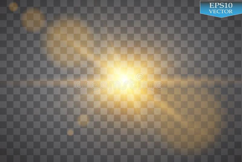 Effetto della luce speciale del chiarore della lente di luce solare trasparente di vettore Flash di Sun con i raggi ed il riflett royalty illustrazione gratis