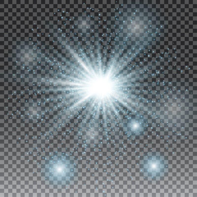 Effetto della luce speciale del chiarore della lente di luce solare trasparente di vettore Scintillio blu Scoppio della stella co royalty illustrazione gratis