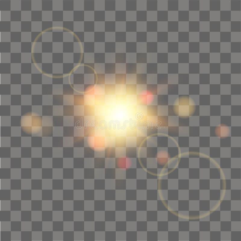 Effetto della luce speciale del chiarore della lente di luce solare su fondo trasparente Effetto della luce d'ardore con le scint illustrazione di stock