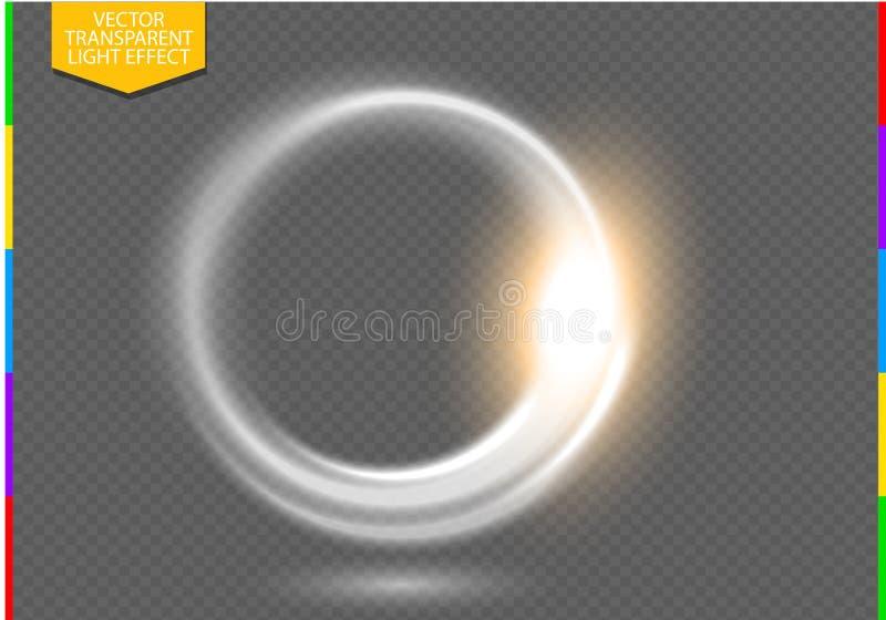 Effetto della luce trasparente del chiarore circolare della lente Confine astratto di ellisse Trasparenza nel formato supplementa royalty illustrazione gratis