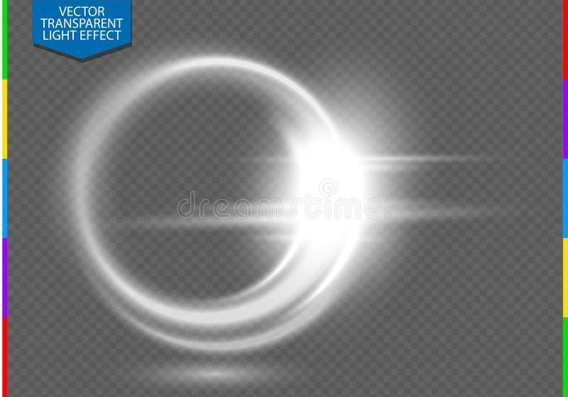 Effetto della luce trasparente del chiarore circolare della lente Trasparenza nel formato supplementare soltanto illustrazione vettoriale