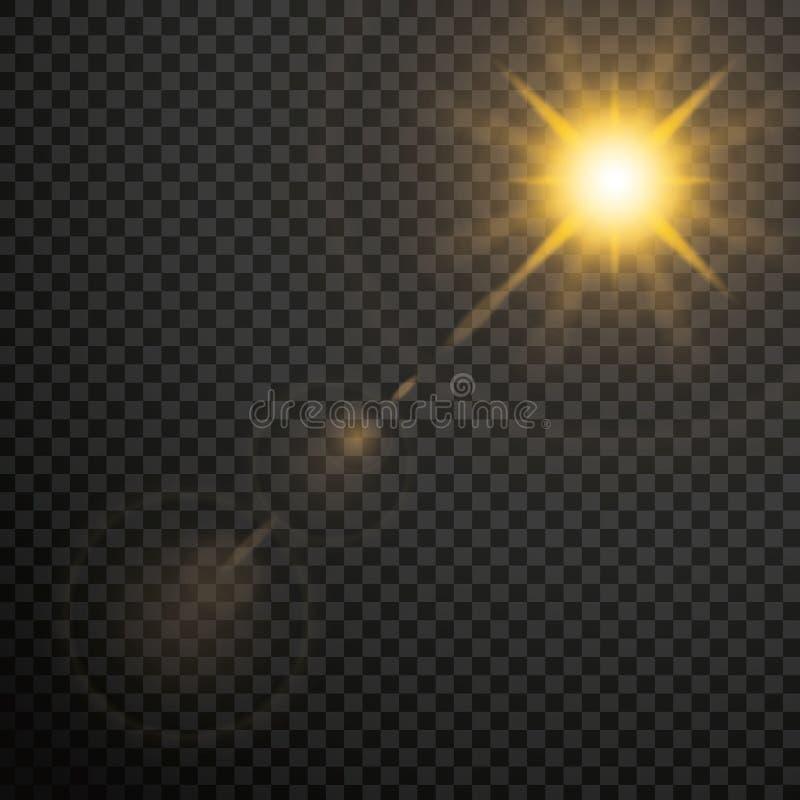 Effetto della luce trasparente di incandescenza dei chiarori della lente Stella scoppiata con oro illustrazione vettoriale