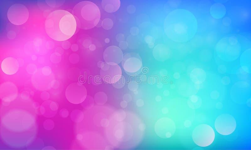 Effetto delle luci astratto del bokeh con fondo blu rosa, struttura del bokeh, fondo del bokeh, illustrazione di vettore illustrazione vettoriale