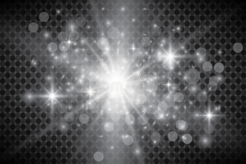 Effetto delle luci d'ardore, chiarore, esplosione e stelle Effetto speciale isolato su fondo trasparente illustrazione di stock