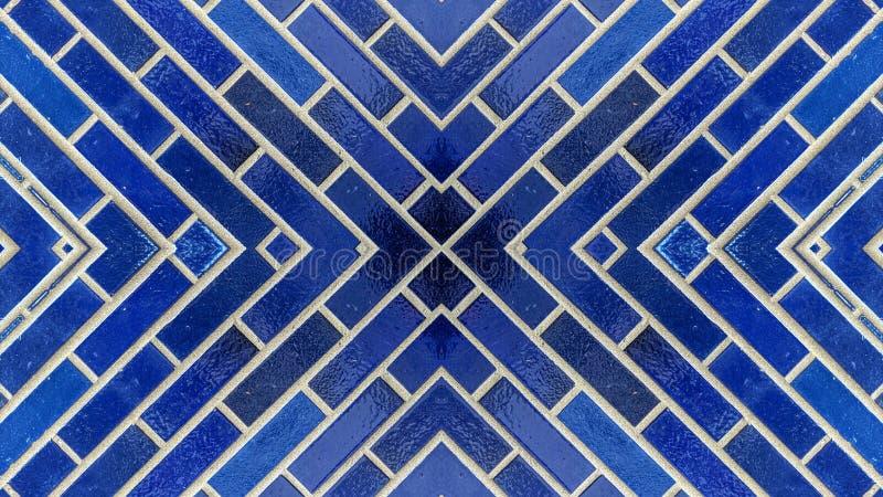 Effetto dello specchio su un muro di mattoni blu illustrazione vettoriale