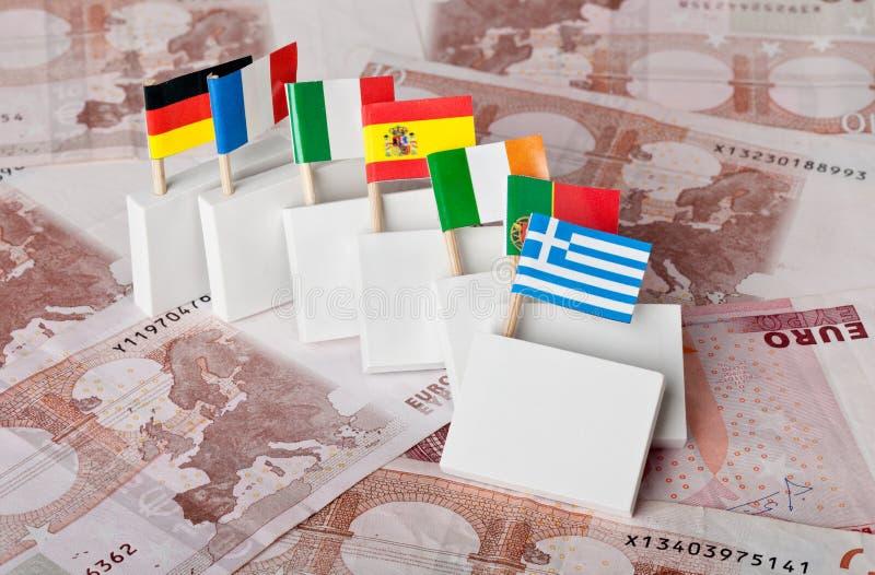 Effetto di domino di euro crisi di debito immagini stock