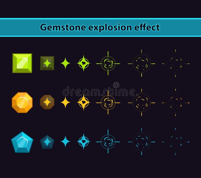 Effetto di esplosione della pietra preziosa illustrazione vettoriale
