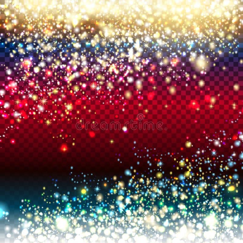 Effetto di fondo dorato e d'argento delle particelle di scintillio per lusso illustrazione di stock