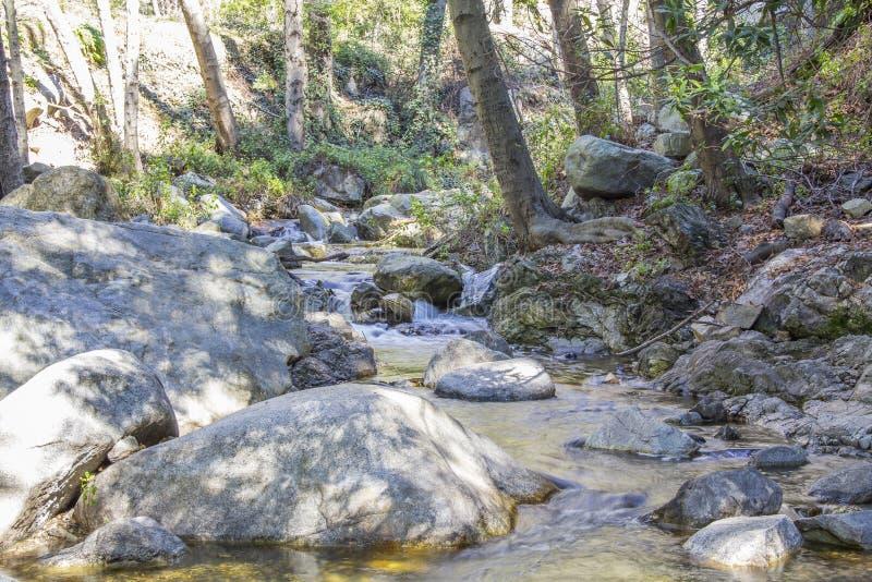 Effetto di seta dell'acqua al fiume di Santa Anita immagine stock