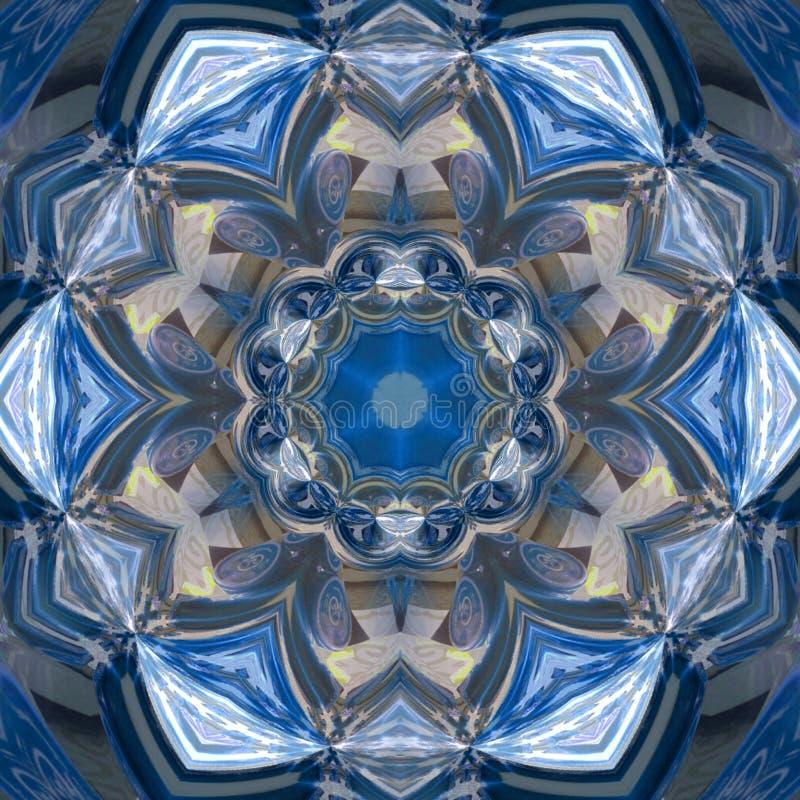 Effetto floreale blu del gzhel della mandala, colori freschi del caleidoscopio immagine stock libera da diritti