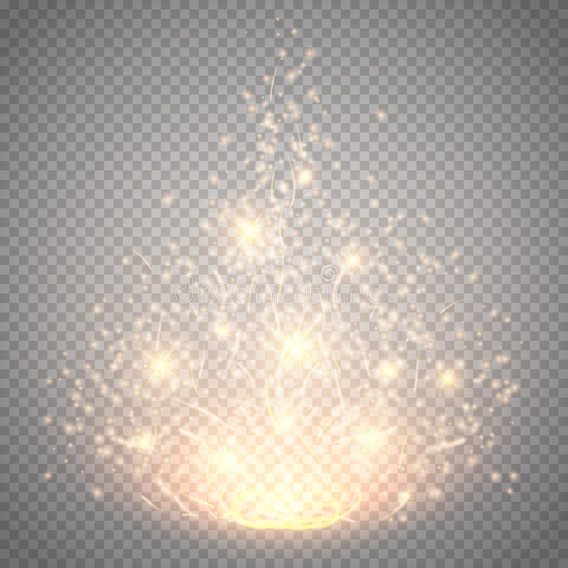Effetto leggero magico di vettore La luce, il chiarore, la stella e lo scoppio di effetto speciale di incandescenza hanno isolato royalty illustrazione gratis