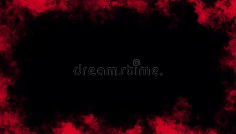 Effetto nebbioso di struttura del fumo rosso della struttura per il film, il testo o lo spazio Struttura del confine illustrazione di stock