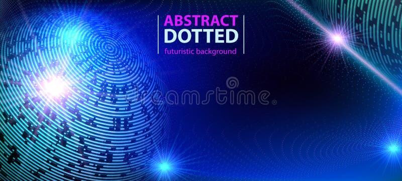 Effetto radiale al neon blu futuristico di scoppio della luce di tecnologia dell'estratto Cerchi degli elementi di Digital di sem illustrazione di stock
