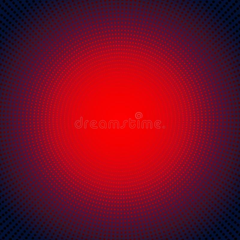 Effetto radiale al neon rosso futuristico di scoppio della luce di concetto digitale di tecnologia su fondo scuro Cerchi degli el royalty illustrazione gratis