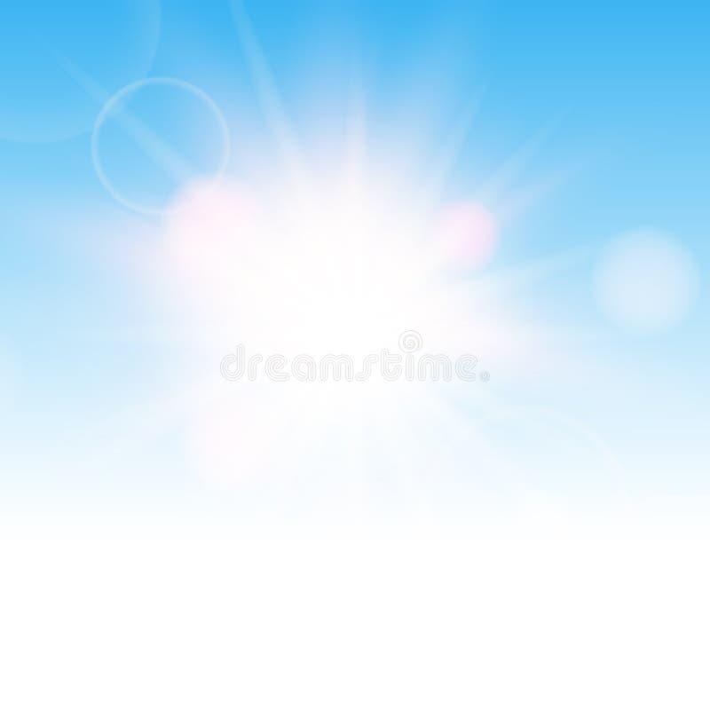 Effetto realistico di esplosione solare nel cielo blu Vettore fotografie stock libere da diritti