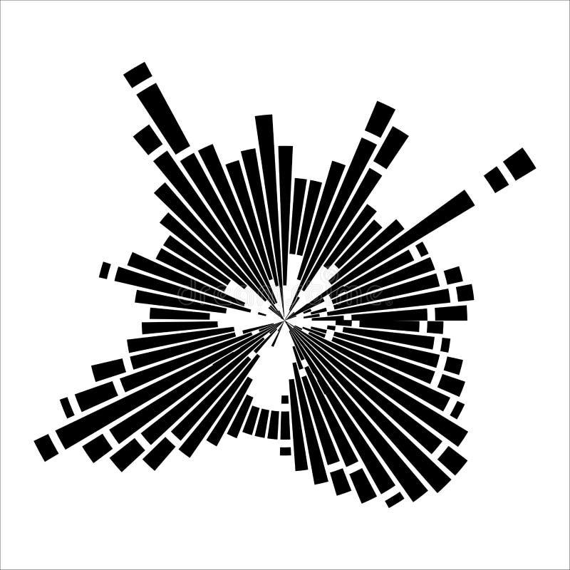 Effetto rotondo dell'onda sonora isolato su fondo bianco illustrazione di stock
